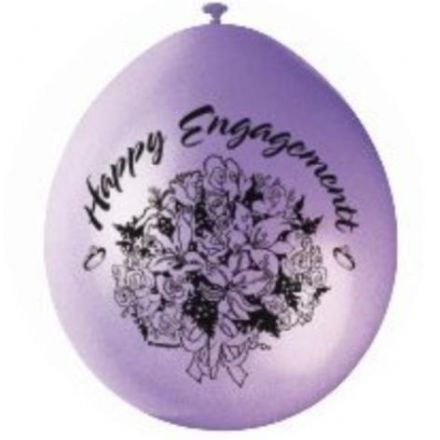 "10 'Happy Engagement' 9"" Assorted Colour Balloons"